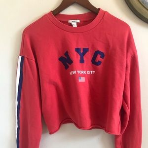 NY cropped Red Crewneck